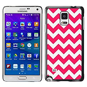 LECELL--Funda protectora / Cubierta / Piel For Samsung Galaxy Note 4 SM-N910 -- Pink Lines Pattern White Summer --