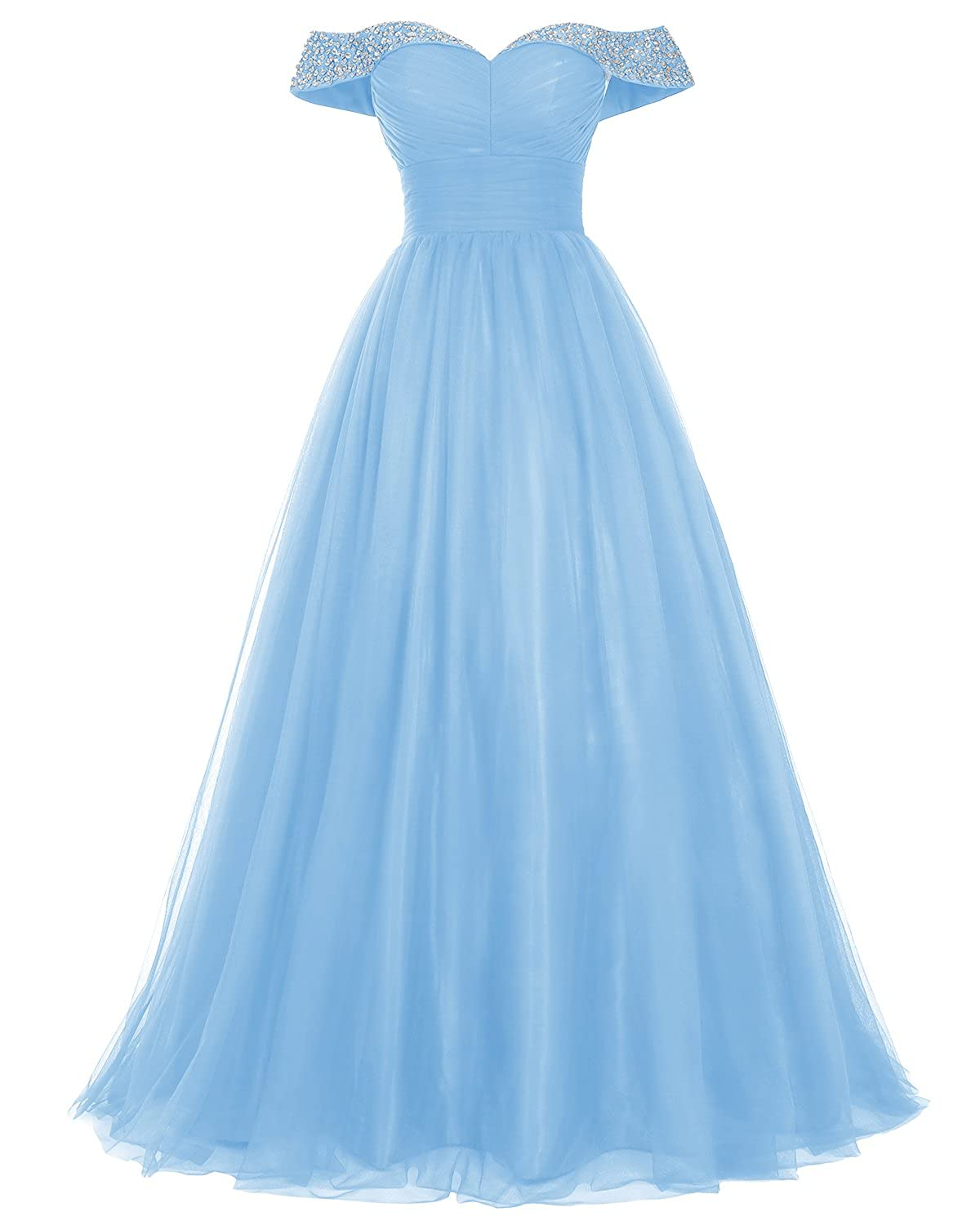 9960e8bbe7f8 Amazon.com: Bridesmay Women's Long Tulle Prom Dress Beaded Off Shoulder  Formal Evening Gown Dresses: Clothing