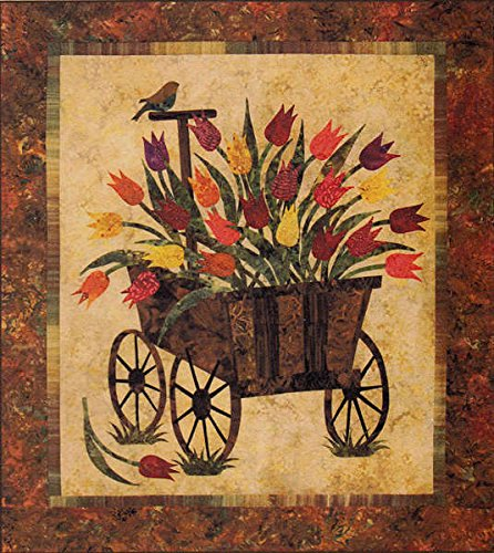 (Spring Wagon Tulips Bird Laundry Basket Applique Quilt Pattern)