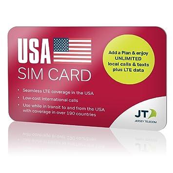 Tarjeta SIM para EE.UU. con llamadas y SMS locales ilimitados e internet móvil LTE, incluye US$10 de crédito internacional