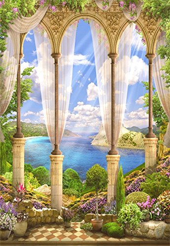 Laeacco 3x5ft Vinyl Backdrop Photography Background Fantasy Fairytale Seascape Old Stone Arch View Flowers Wisteria Sun's Rays Summer Sky Clouds Garden Villa Scene Children Adults Bride Girls Photos