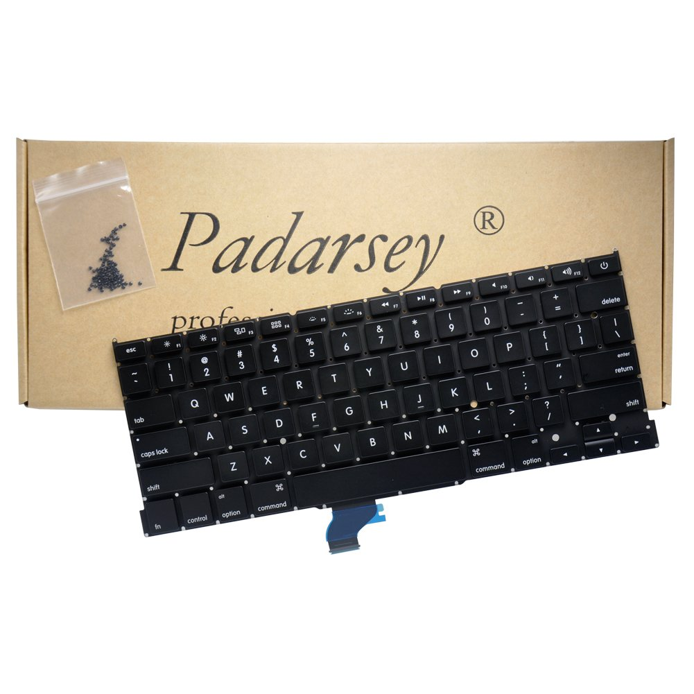 Padarsey Replacement Keyboard without Backlit and Frame for Apple MacBook Pro A1502 13'' 2013-2015 Retina series Black US Layout, Compatible with part numbers ME864 ME865 ME866(6 Months Warranty)