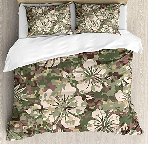- Camo Duvet Cover Set, 4 Piece Full Bedding Sets Soft Microfiber Bedspread Comforter Cover and Pillow Shams, Aloha Hawaiian Tropical Jungle Forest Hibiscus Flowers Leaves Nature