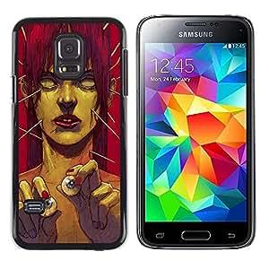 TopCaseStore / la caja del caucho duro de la cubierta de protección de la piel - Zombie Art Eye Balls Green Monster Redhead - Samsung Galaxy S5 Mini, SM-G800, NOT S5 REGULAR!