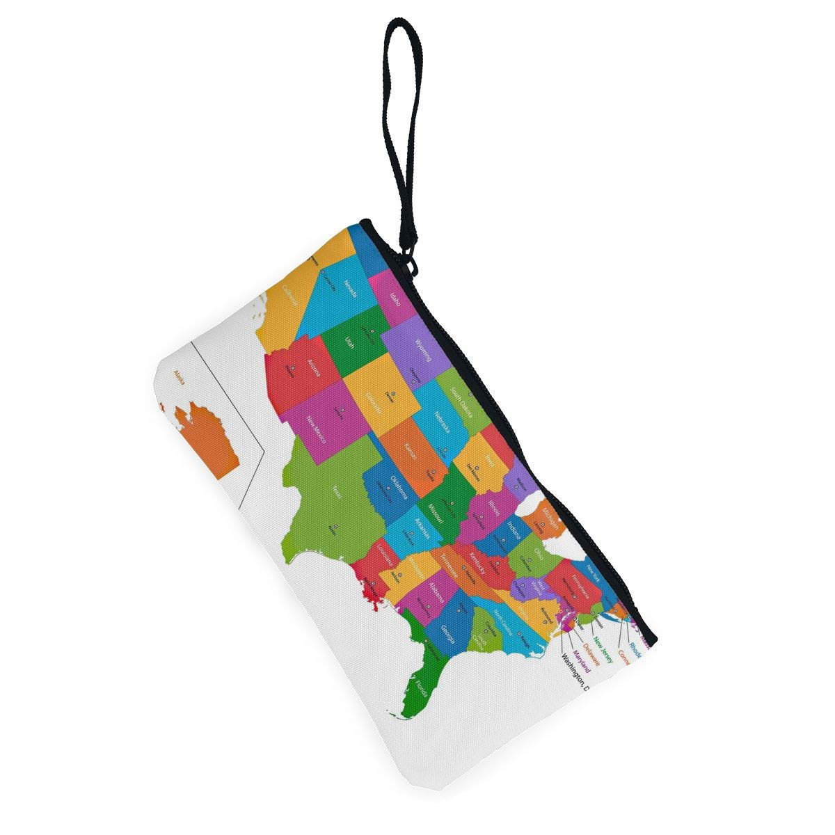 Maple Memories Colorful USA Map Portable Canvas Coin Purse Change Purse Pouch Mini Wallet Gifts For Women Girls