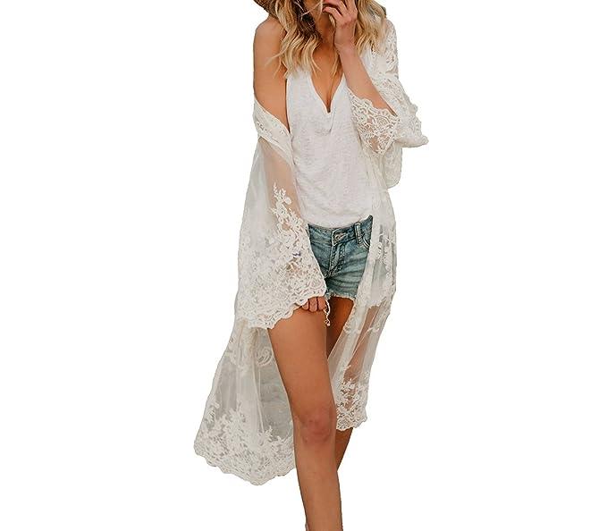 0a7dc47618b Flyself Vestido Mujer Verano Crochet Bikini Cover Up Mangas Largas Kimono  Cárdigan Sexy Encaje Bordado Floral Vestido de Playa Trajes de Baño Ropa de  Playa  ...