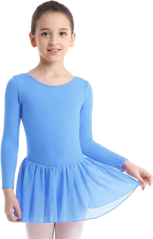 YiZYiF M/ädchen Ballett Trikot Ballettkleid Ballettanzug Langarm Tanzkleid mit Chiffon Wickelrock Turnanzug Gymnastikanzug Kinder Ballettkleidung