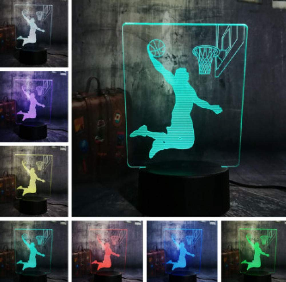 L/ámpara Moderna Jugador De Baloncesto Cool Slam Dunk Sport Usb 7 Cambio De Color L/ámpara De Escritorio Luz De La Noche Kid Boy Hombre Regalo Decoraci/ón Para El Hogar