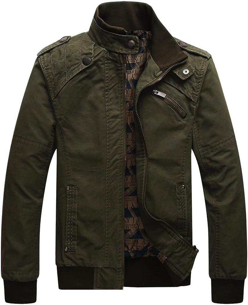 Dwar Men's Casual Long Sleeve Full Zip Outdoor Jacket with Shoulder Straps