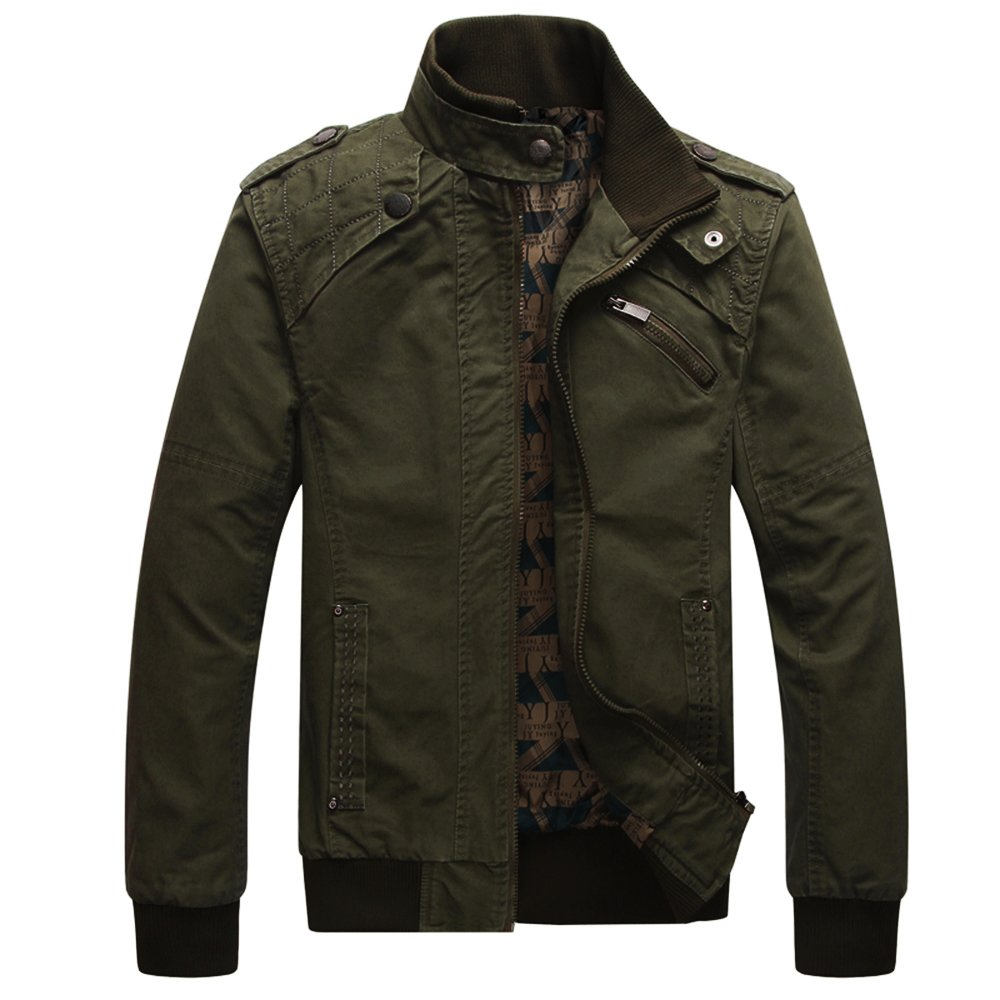 Dwar Men's Casual Long Sleeve Full Zip Fashion Jackets with Shoulder Straps (Small, Deep Army Green)