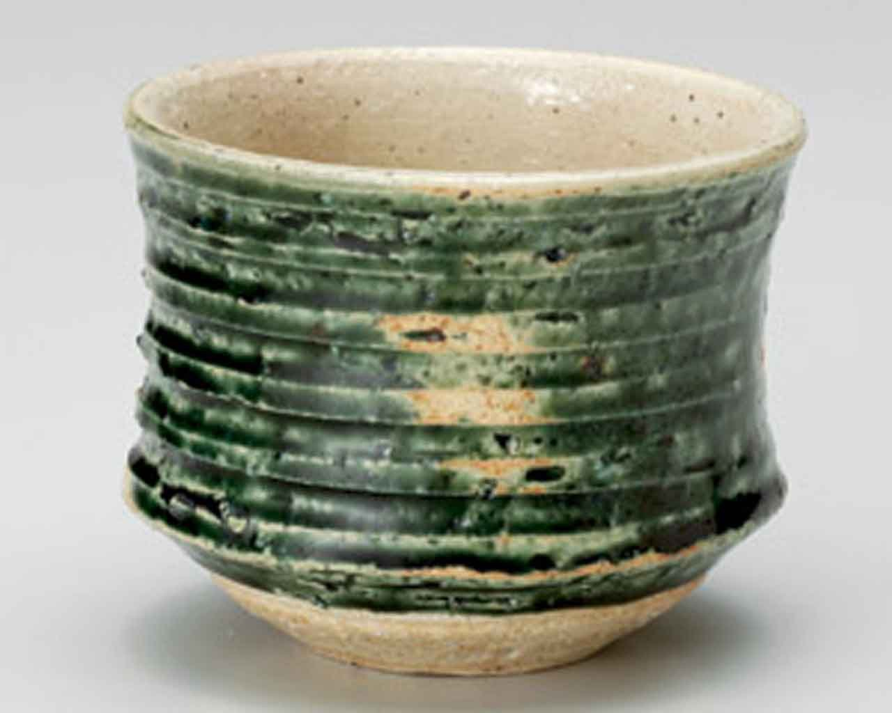 Oribe Kezuri 3.9inch Matcha-Bowl Beige Ceramic Made in Japan by Watou.asia