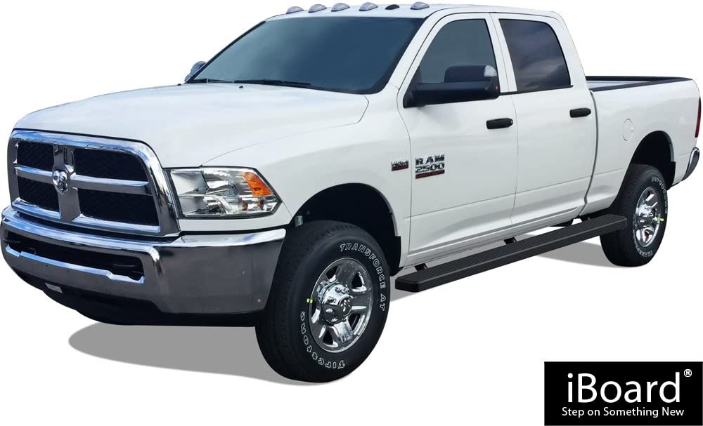 APS 5in Wheel-to-Wheel Black Nerf Bars Custom Fit 09-18 Ram Crew Cab 5.5ft Bed