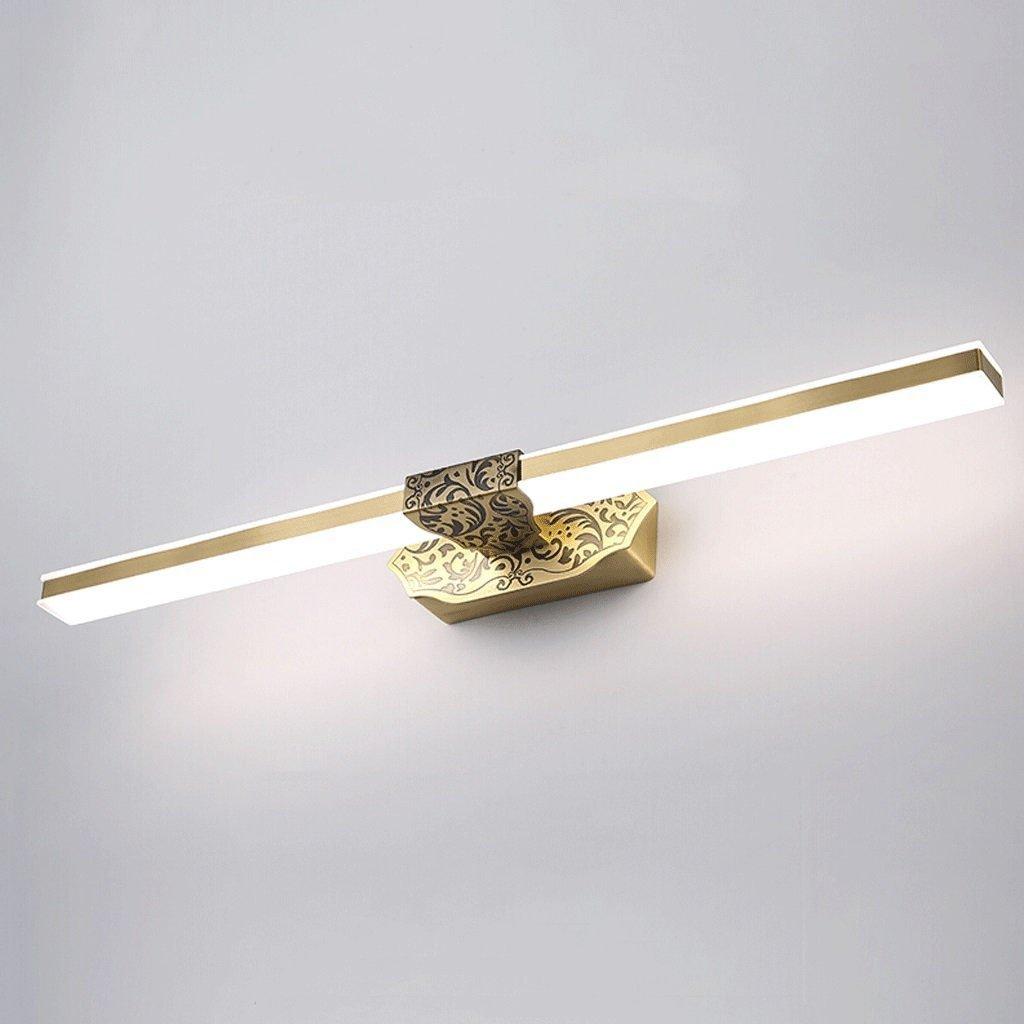 popa Iluminación de interior Todas las luces de espejo LED de cobre Espejo de baño retro espejo luces impermeables accesorios de iluminación Apliques en forma de vela ( Tamaño : 6W41cm ) popa-jingqiandeng