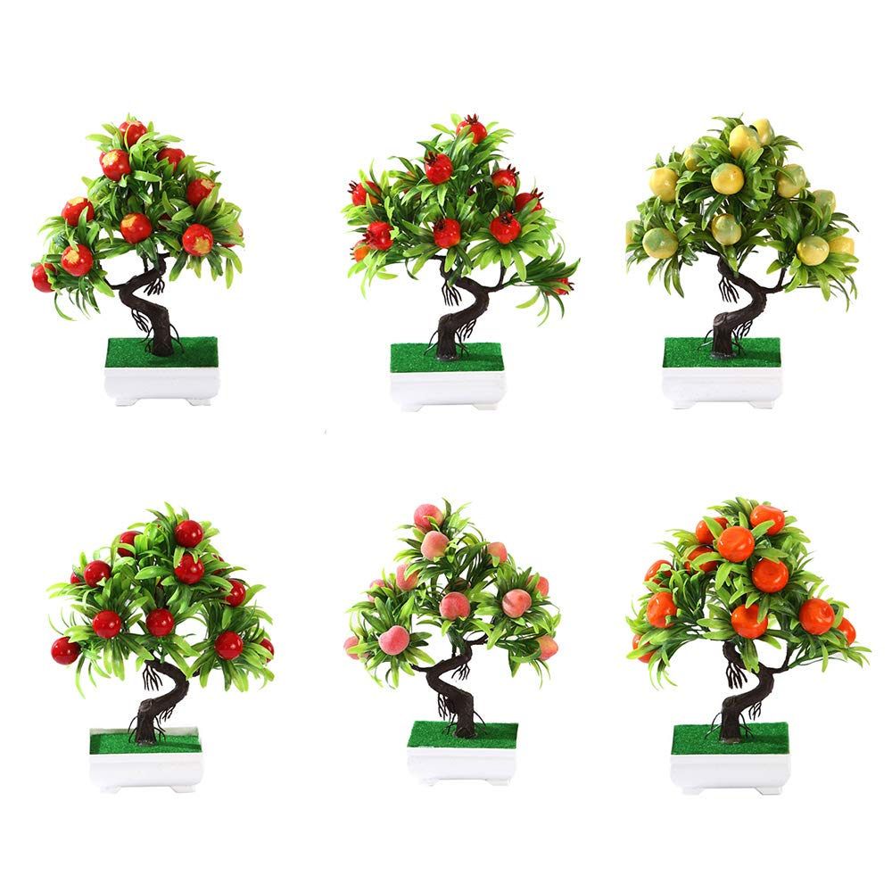 Bonsai Plant Fruit Bonsai Tree Plant by HIMM Square Fake Trees Indoor Outdoor Fake Bonsai Plant Tress of Blossom Apple,Lemon,Peach,Pomegranate,Red Tangerine,Haw,Red Fruit so on