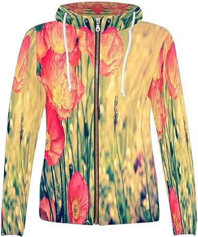 INTERESTPRINT Mens Cherry Flower Floral Hoodies Sweatshirt