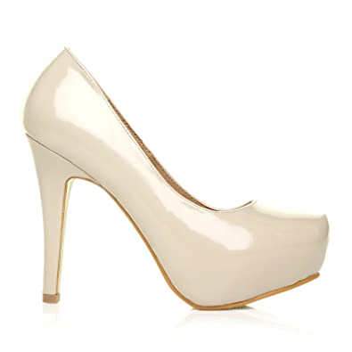 edc5f98823f H251 Nude Patent PU Leather Stiletto High Heel Concealed Platform Court  Shoes  Amazon.co.uk  Shoes   Bags