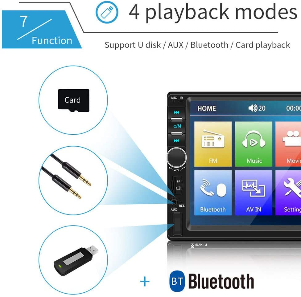 Car MP5 Player with 7 Inch Double 2 DIN HD+Camera Touch Screen Stereo Radio Aux Input Receiver Audio,TF//USB Bluetooth Digital Autoradio with Remote Control for Cars,US Warehouse