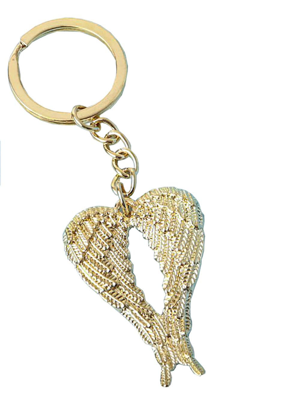 12 Fashioncraft Gold Guardian Angel Wings Metal Key Chain Key Holder Christening, Communion, Baptism, Confirmation, Christian Religious Favors