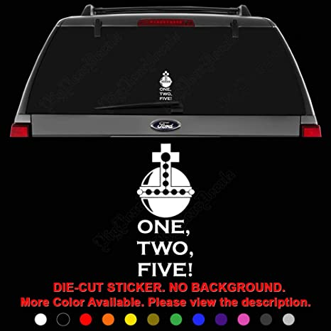 Holy Hand Grenade Monty Python 1 2 5 Die Cut Vinyl Decal Sticker For Car Truck Motorcycle Vehicle Window Bumper Wall Decor Laptop Helmet Size 12 Inch 30 Cm Tall And Color Matte Black