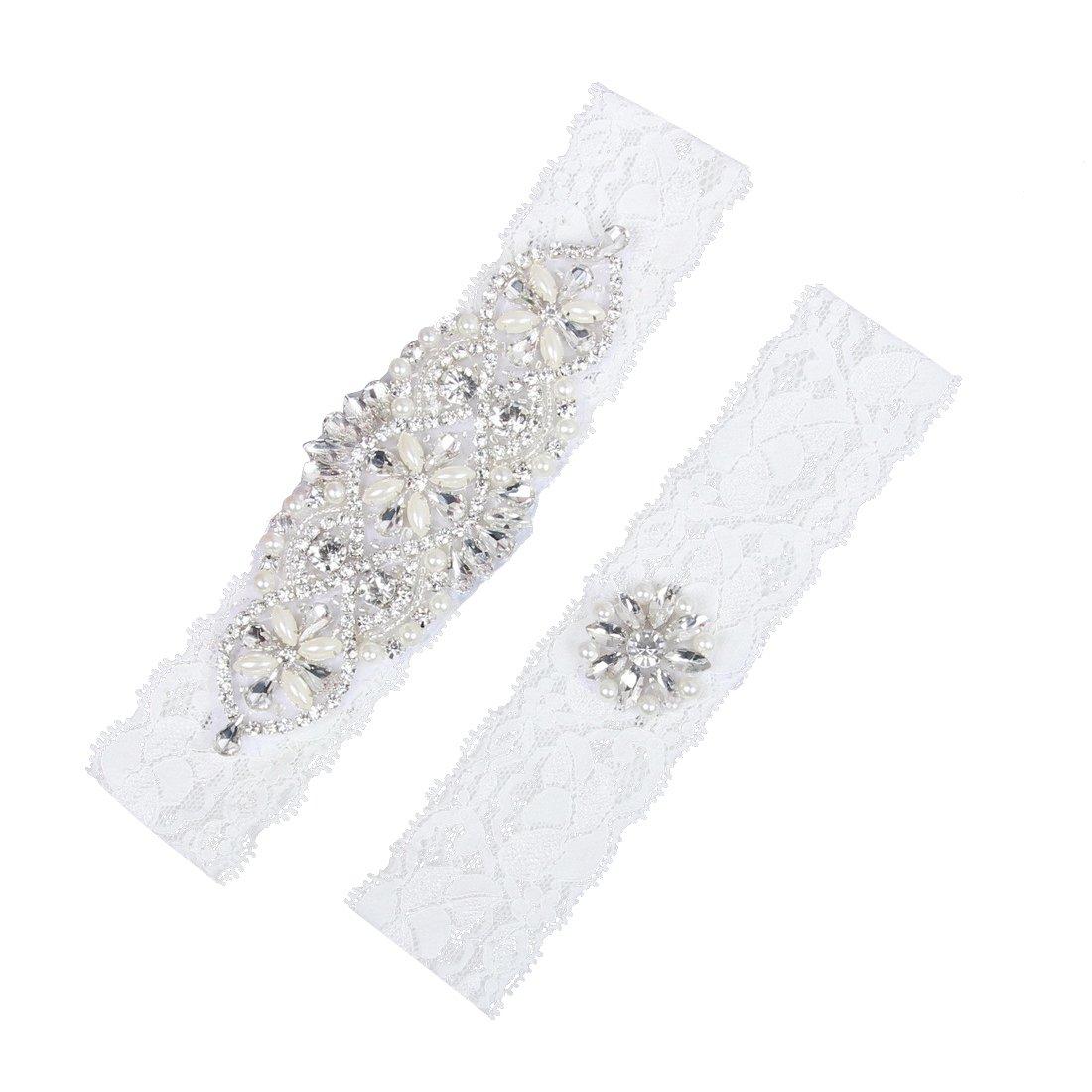 Prettybabyonline Wedding Garters Bride Bridal Garters Set Belt Lace Pearls Plus Size