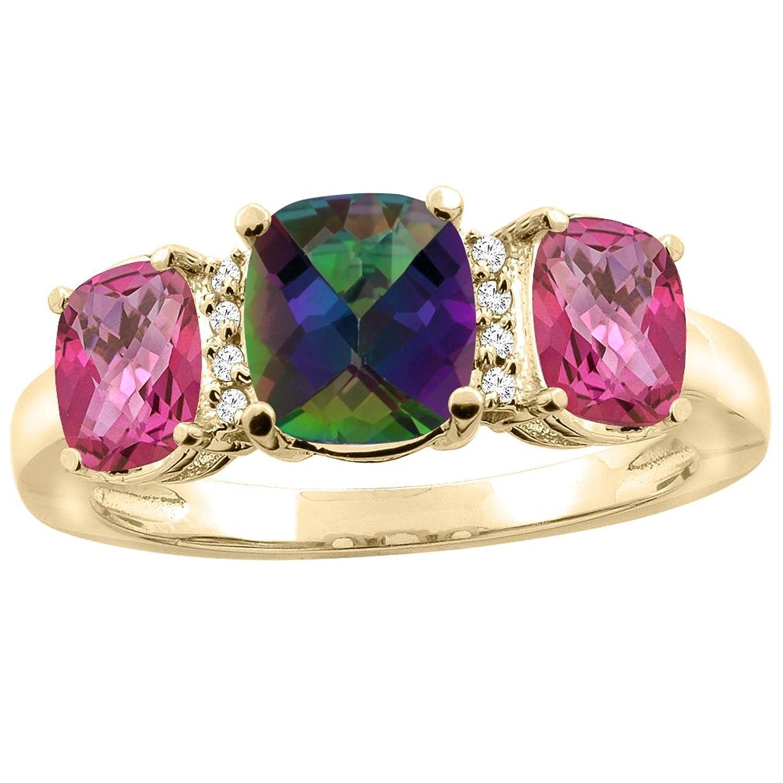 10K White Gold Natural Mystic Topaz & Pink Topaz 3-stone Ring Cushion 8x6mm Diamond Accent, sizes 5 - 10