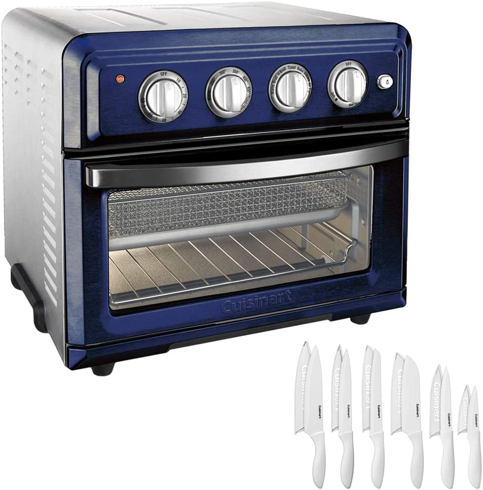 Cuisinart TOA-60NV Convection Toaster Oven Air Fryer with Light, Navy Bundle with Advantage 12-Piece White Knife Set with Blade Guards
