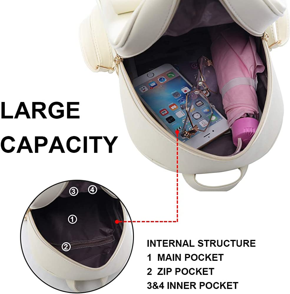 3-Pieces ZGWJ Mini Leather Backpack Purse Bowknot Small Backpack Cute Casual Travel Daypacks for Girls Women
