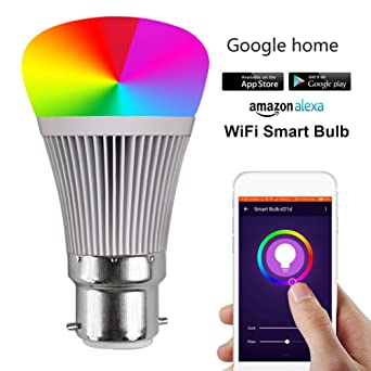 Bombilla LED inteligente Interruptor de sincronización WIFI Brillo Ajuste de color Compatible con Amazon Alexa y