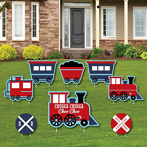 Railroad Party Crossing - Yard Sign & Outdoor Lawn Decorations - Steam Train Birthday Party or Baby Shower Yard Signs - Set of 8 (Train Lawn Ornament)