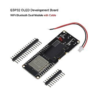 MakerFocus ESP32 OLED Development Board WiFi Bluetooth Dual Module with  Cable ESP WROOM 32 Wemos Lolin for Arduino