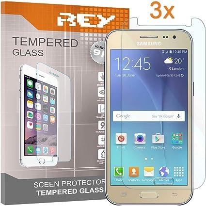 REY 3X Protector de Pantalla para Samsung Galaxy J5 (2015), Cristal Vidrio Templado Premium: Amazon.es: Electrónica