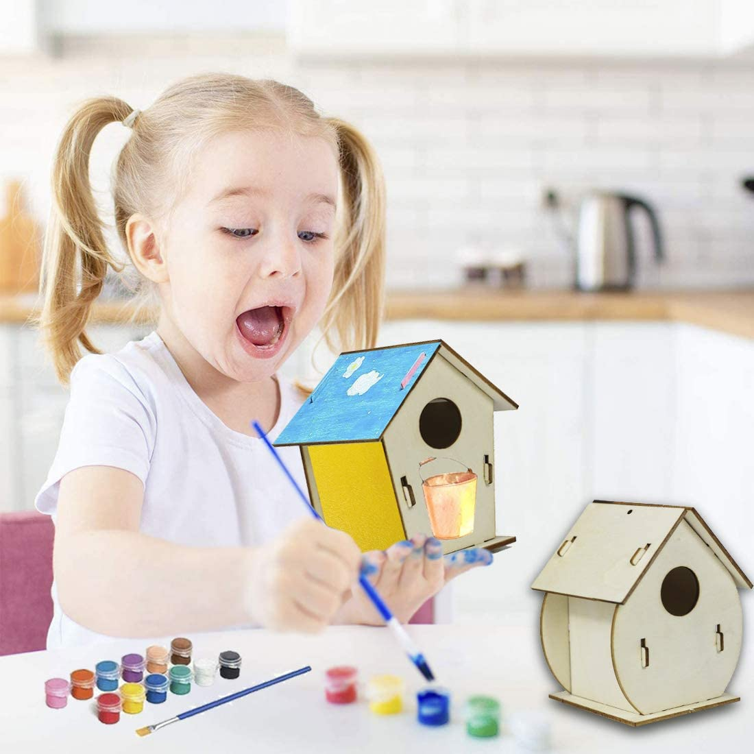 Wooden Birds House Art Crafts Kits Toys for Kids Girls Boys Xmas Gifts for 4-8 9 10 11 12 Year Old Arts and Crafts for Kids Ages 4-12 2 Packs DIY Bird House Kits for Children to Build and Paint