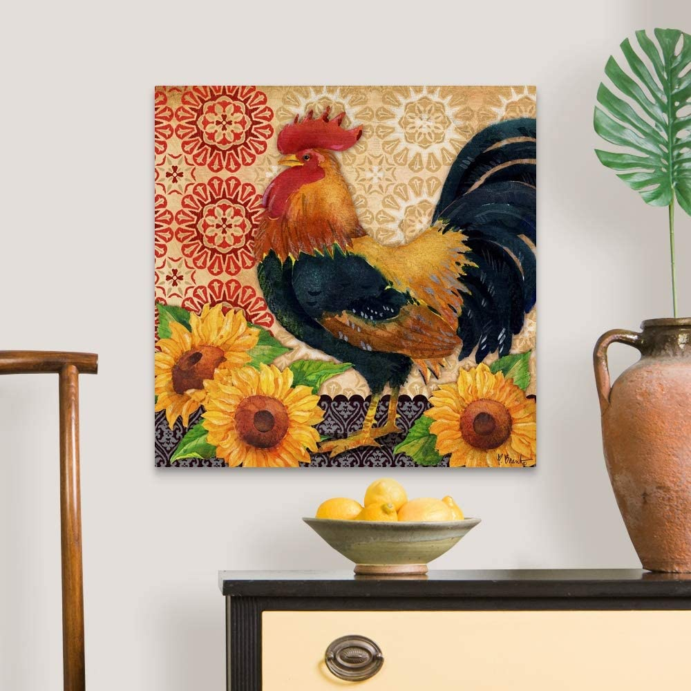 Amazon Com Roosters And Sunflowers Ii Canvas Wall Art Print Rooster Artwork Posters Prints