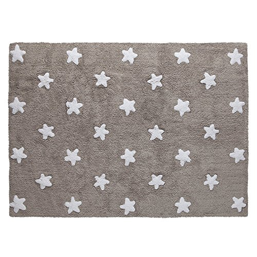 Lorena Canals Tapis enfant beige lavable en machine Stars 120 x 160