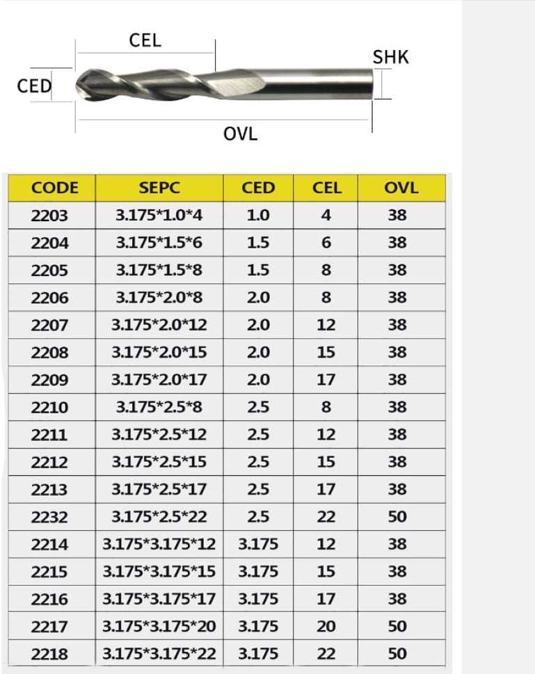 Fr/äser 1 St/ück 3,175 mm Kugelkopffr/äser 2 Spiral-Spiral-CNC-Fr/äser f/ür das Fr/äsen von Hartmetall aus Holz Hochwertiges Fr/äserwerkzeug-12 mm/_1,0 mm