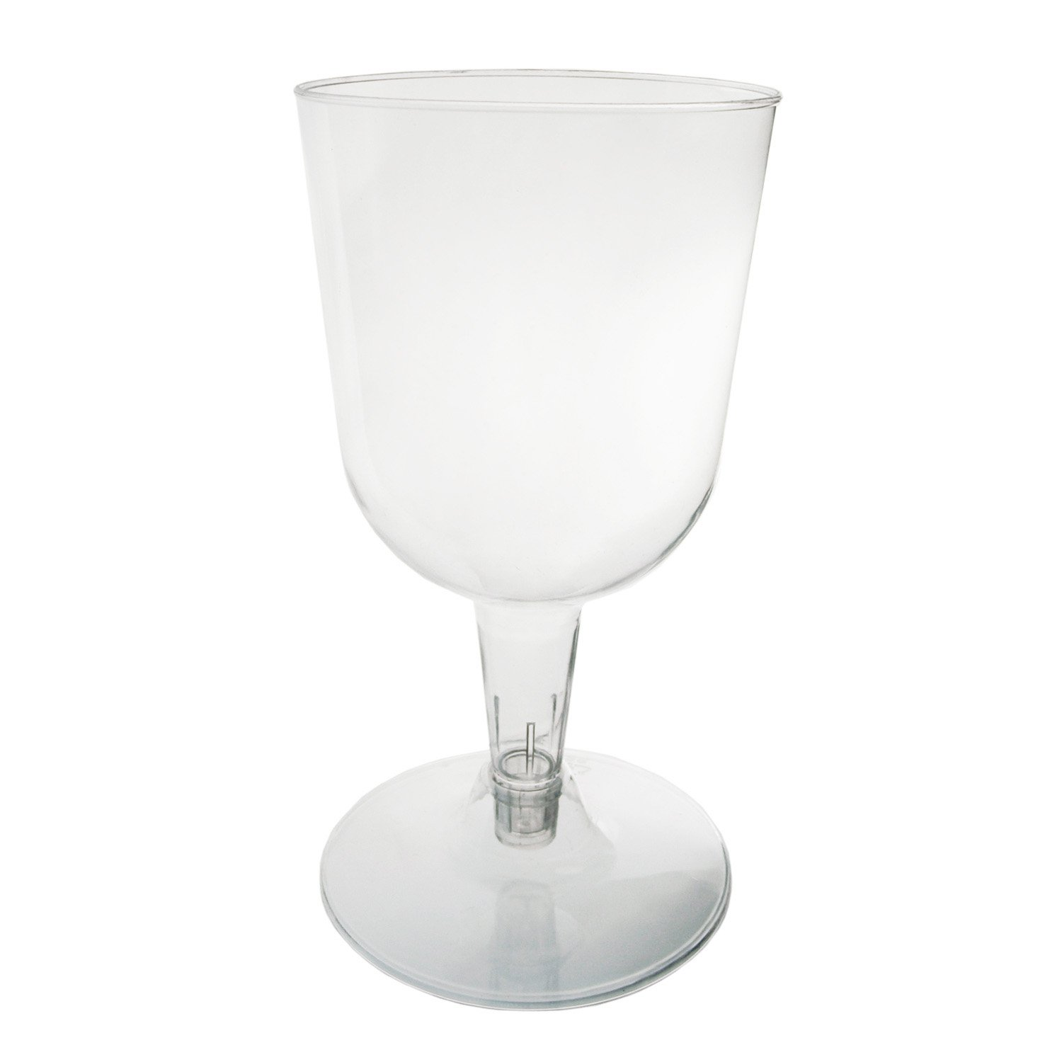 Party Essentials N55021 Hard Plastic 2-Piece Wine Glass, 5.5-Ounce Capacity, Clear (Case of 500) by Party Essentials