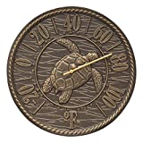 Whitehall Sea Turtle 16'' Wall Clock (Sea Turtle Thermometer, French Bronze)