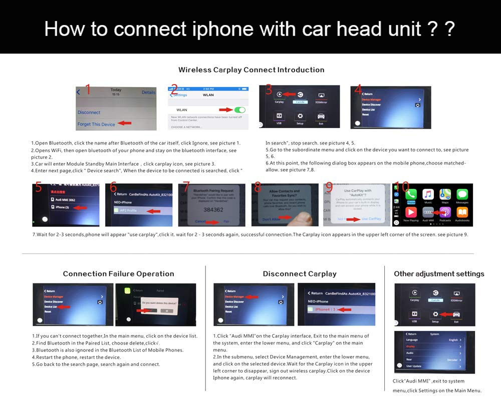 Carlinkit Wireless iOS Carplay Android Auto Receiver Box for Audi A3  (13-18) Original Screen Upgrade(Support Navigation,Google&Waze Map,
