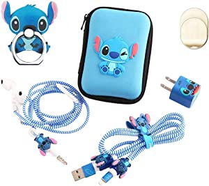 ZOEAST(TM) Stitch Set DIY Protectors Phone Ring Apple Data Cable USB Charger Data Line Earphone Wire Saver Protector Compatible iPhone 5 5S SE 6 6S 7 8 Plus X IPad iPod iWatch (Upgrade Styles, Stitch)