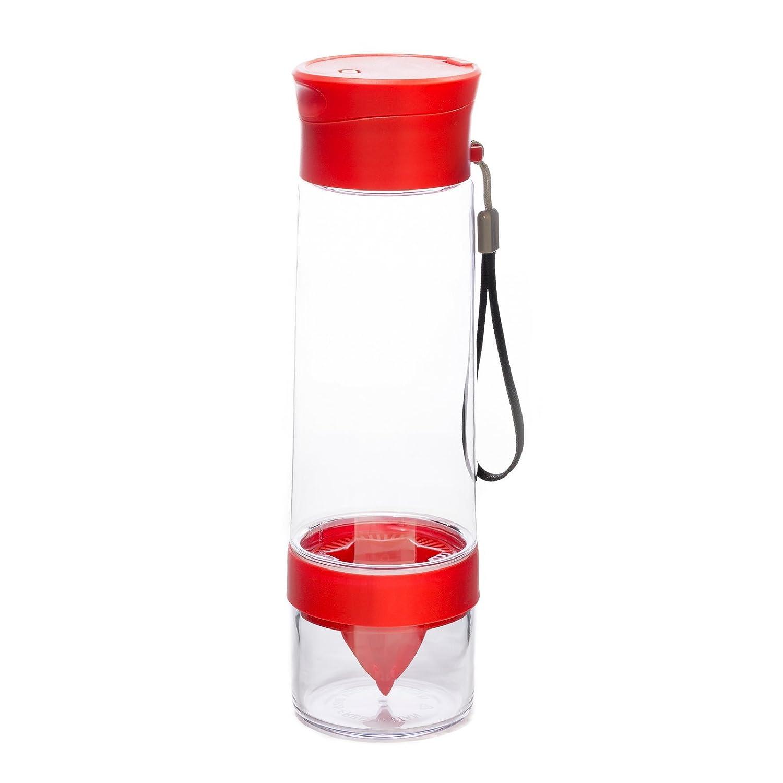 Yoko Design 1431 Bouteille Detox avec Presse-Agrumes Plastique Rouge 26, 7 x 7, 5 x 7, 5 cm