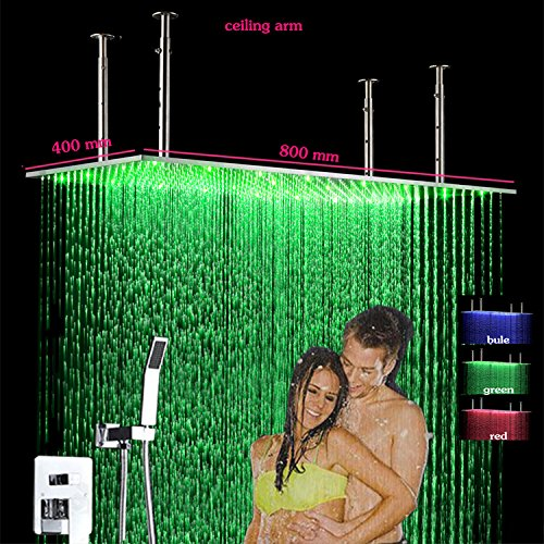 Gowe Hot Cold Bath Shower Mixer Faucet 400x800 Wall Mount Stainless Steel LED Big Rain Shower Head and HandShower Conceal Shower Set 0