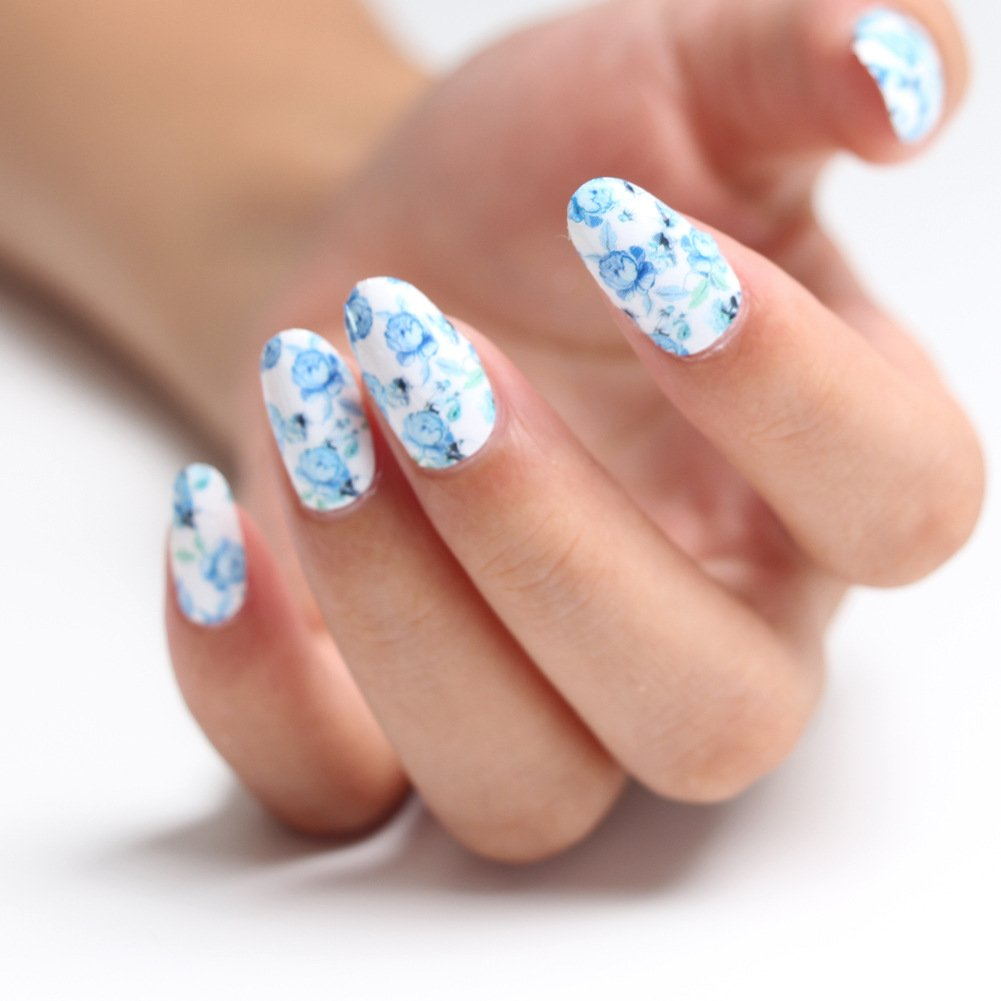 Full Wrap Nail Art Water Transfer Decal Sticker Leaves Nail Sticker Tattoo - FashionLife