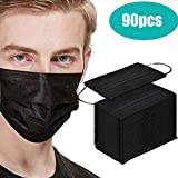 Disposable Face Safety, 3 Ply Non-Woven, Face Bandanas, Breathable and Anti-Haze Dust, for Adult (Black,90PCS)