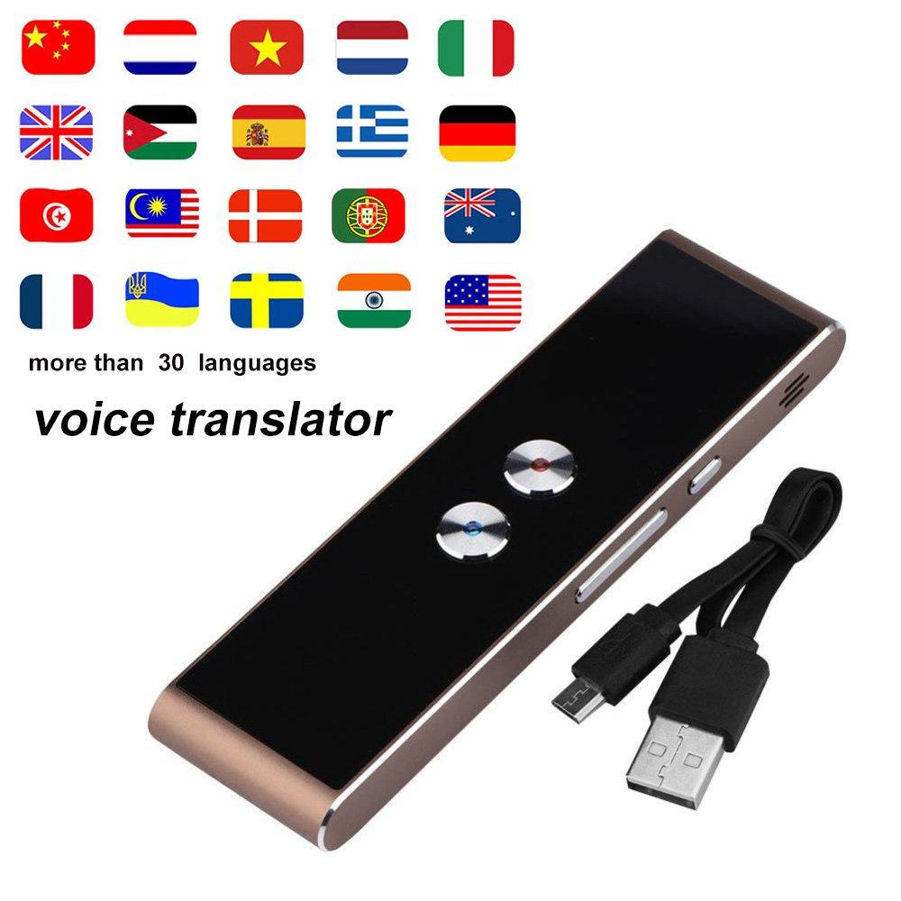 Smart Language Translator Device, Handheld Voice Simultaneous Speech Translation Tool English Chinese French Spanish Japanese German 34 Languages Travel Learning Business Meeting (Brown)