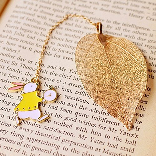 (Chris.W Exquisite Leaf Vein Bookmarks Book Marker w/ Rabbit Pendant for School Supplies Stationery, Creative Gift for Girls Boys Adults Bookworms)