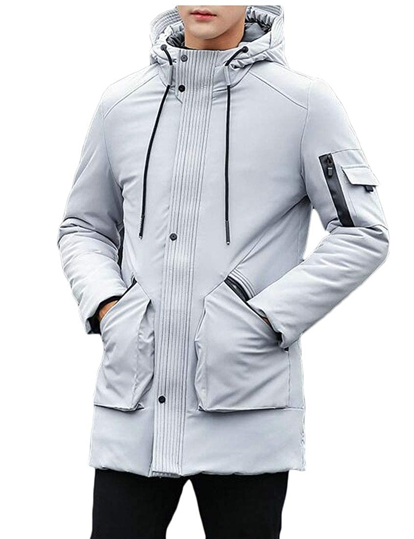Sweatwater Mens Casual Outdoors Warm Pure Colour Hooded Zip-Up Parkas Jacket