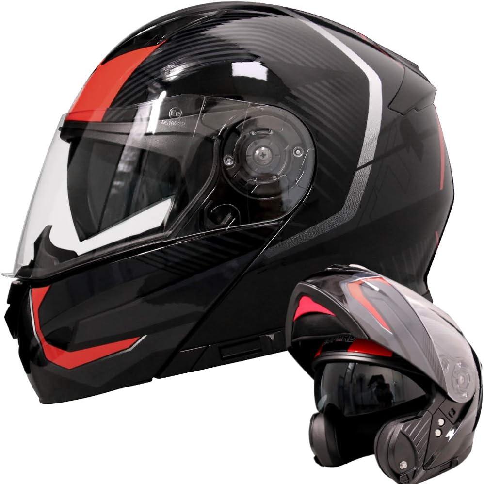 Amazon.es: Leopard LEO-888 Doble Visera Casco Moto Modular ECE 22-05 Homologado #5 Rojo/Gris/Negro XL (61-62cm) para Motocicleta Bicicleta Scooter Cascos de Moto Modulares Mujer y Hombre