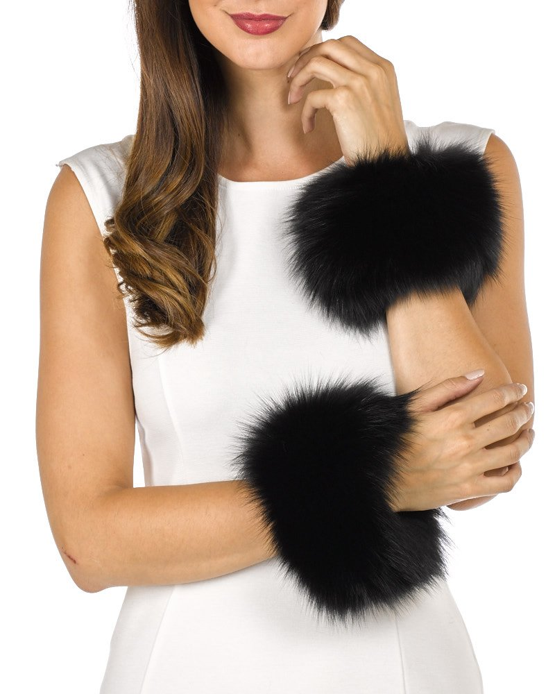 Fur Slap on Cuffs - Black Fox Fur