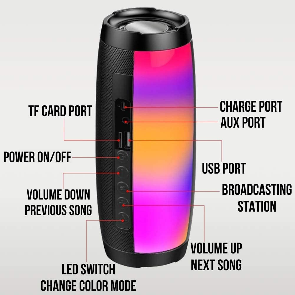 Yeeter Portable Wireless Bluetooth Speaker 7 Color Light Modes for Phone//Tablet//PC//TV FM Radio//USB//Mic//TF//AUX Input Support Loud HD Sound with Enhanced Bass LED Bluetooth Speaker Great for Parties