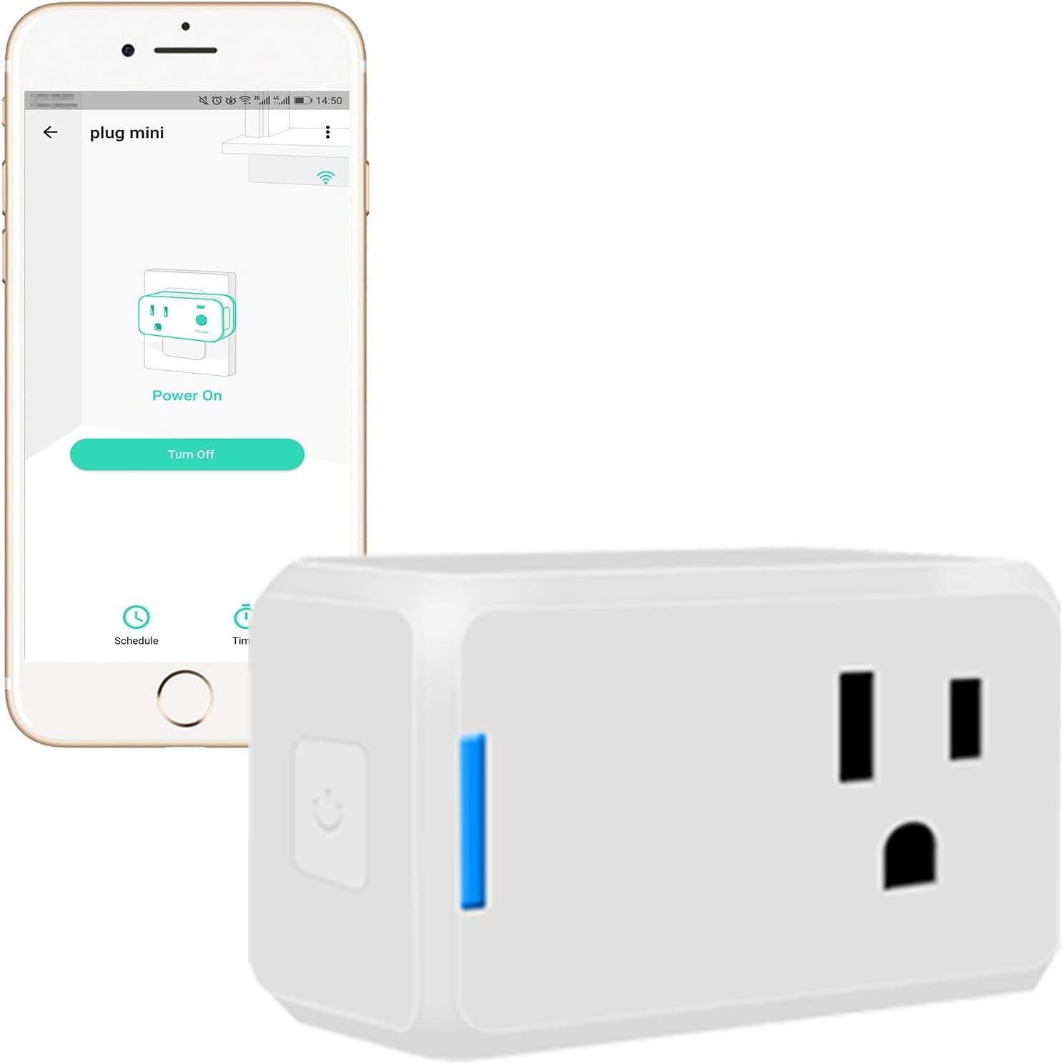 YoLink Mini Plug, 1/4 Mile World's Longest Range Smart Home Plug Mini Outlet Works with Alexa Google Assistant IFTTT App Remote Control Home Appliances from Anywhere- YoLink Hub Required